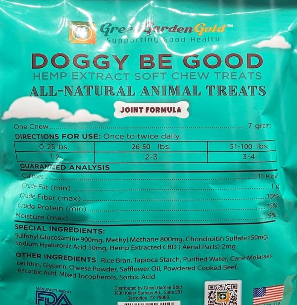 Doggy Be Good™ CBD Soft Chew Treats: Joint Formula_Supplemental Fact